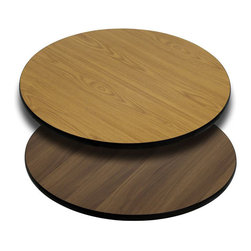 "Flash Furniture - 24'' Round Table Top with Natural or Walnut Reversible Laminate Top - Complete your restaurant, break room or cafeteria with this reversible table top. The reversible laminate top features two different laminate finishes. This table top is designed for commercial use so you will be assured it will withstand the daily rigors in the hospitality industry.; Reversible Restaurant Table; 1.125"" Thick Round Table Top; Bi-Color Laminate Top; Natural On One Side, Walnut on the Other; High Impact Melamine Core; Black T-Mold Protective Edging; Designed for Commercial Use; Available Sizes: 24"", 30"", and 36""; Assembly Required: Yes; Country of Origin: China; Warranty: 2 Years; Weight: 40 lbs."