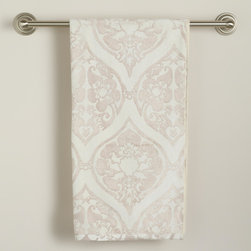Baroque Ogee Bath Towel - This beautiful white cotton bath towel is enhanced by a pretty baroque pattern. It is so soft and comfortable, even your bathroom will be cozy and ready for fall.