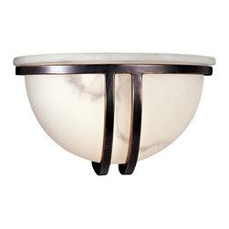 Minka Lavery - Minka Lavery 332-37 Restoration Bronze 1 Light Wall Sconce - Alabaster Dust Glass Shade