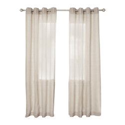 "Best Home Fashion - Shimmery Linen Lurex Grommet Top Curtain 84""L - These gorgeous shimmery linen curtains will brighten up any home decor."