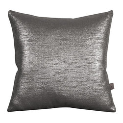 Howard Elliott - Glam Zinc 16 x 16 Pillows - Change up color themes or add pop to a simple sofa or bedding display by piling up the pillows in a multitude of colors, textures and patterns. This Glam pillow features a linen-like texture in a soothing graphite color with a metallic finish