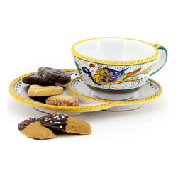 Artistica - Hand Made in Italy - Raffaellesco: Caffe-Latte Cup with Croissant Saucer - Raffaellesco Collection: Among the most popular and enduring Italian majolica patterns, the classic Raffaellesco traces its origin to 16th century, and the graceful arabesques of Raphael's famous frescoes.