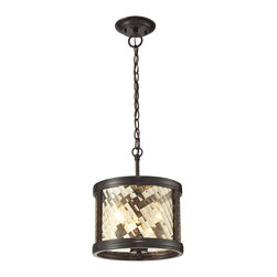 Elk Lighting - Elk Lighting Chandler Collection 3 Light Pendant In Oil Rubbed Bronze - 31451/3 - 3 Light Pendant In Oil Rubbed Bronze - 31451/3 in the Chandler collection by Elk Lighting This series features a crosshatch patterned glass that exudes dazzling light textures.  The glass is held by a heavy metal frame with stepped rings to further enrich the distinction of the design.  Choose between Polished Nickel with clear glass or Oil Rubbed Bronze with champagne glass.    Pendant (1)