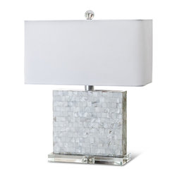 Kathy Kuo Home - Marconi Coastal Beach Mother of Pearl Square Table Lamp - Shimmering, precisely-cut shells surround this modern square lamp. Shades of cream, alabaster and white create a clean, light palette, perfect atop the angular lucite base. A horizontal ivory shade crowns the jeweled table lamp.