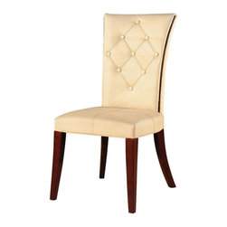 International Design - Traditional Leather Dining Chairs - Enhance your home decor with these traditional dining chairs. Chairs are made of solid wood and beige colored leather for a sturdy look and feel. Hand stitching on front of chairs. Set includes two chairs . No Assembly Required. 19 in. L x 21 in. W x 37 in. H (18 lbs)