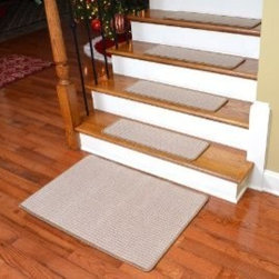 """Dean Flooring Company - Dean Premium Carpet Stair Treads - Kingsley Sand (Set of 13) 27"""" x 9"""" Plus Mat - Dean Premium Carpet Stair Treads - Kingsley Sand (Set of 13) 27"""" x 9"""" Plus 2' x 3' Landing Mat : Premium Carpet Stair Treads by Dean Flooring Company. Material: Polypropylene. Edges: Finished with attractive color matching yarn. The size of each tread measures approximately 27"""" x 9"""". Set includes thirteen stair treads plus a matching 2' x 3' mat for your landing.  Easy to spot clean and vacuum. Helps prevent slips on your hardwood stairs. Great for helping your dog easily navigate your slippery staircase. Reduces noise. Reduces wear and tear on your hardwood stairs. Attractive: adds a fresh new look to your staircase. Easy DIY installation with double sided carpet tape or (not included - sold separately). Add a touch of warmth and style to your home today with stair treads from Dean Flooring Company!"""