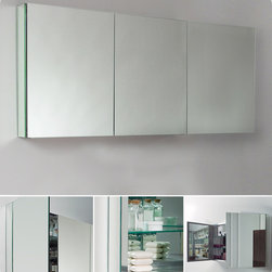 "Fresca - Fresca 60"" Wide Bathroom Medicine Cabinet w/ Mirrors - This 60"" medicine cabinet features mirrors everywhere. The edges have mirrors and also on the interior of the medicine cabinet. The inside features four tempered glass shelves. Can be wall mounted or recessed into the wall."
