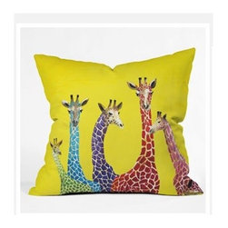 "DENY Designs - Clara Nilles Jellybean Giraffes Throw Pillow - Wanna transform a serious room into a fun, inviting space? Looking to complete a room full of solids with a unique print? Need to add a pop of color to your dull, lackluster space? Accomplish all of the above with one simple, yet powerful home accessory we like to call the DENY Throw Pillow! Features: -Clara Nilles collection. -Material: Woven polyester. -Top and back color: Print. -Sealed closure. -Spot treatment with mild detergent. -Made in the USA. -Closure: Concealed zipper with bun insert. -Small dimensions: 16"" H x 16"" W x 4"" D, 3 lbs. -Medium dimensions: 18"" H x 18"" W x 5"" D, 3 lbs. -Large dimensions: 20"" H x 20"" W x 6"" D, 4 lbs."
