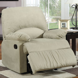 "Coaster - 600267G Glider Recliner - Sage - Introduce casual style and unsurpassed comfort into any room of your home with the remarkable chairs featured in this recliner collection. Soft durable microfiber seating make this recliner the perfect choice for style and comfort. ; Reclining Mechanism; Casual Style; Microfiber; Dimensions: 35.00""L x 35.00""W x 40.00""H"