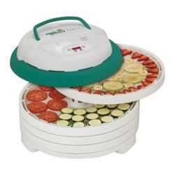 Open Country FD-1022SK 4 Tray Gardenmaster Digital Food Dehydrator - Dry your food in hours, not days with the Open Country FD-1022SK 4 Tray Gardenmaster Digital Food Dehydrator. The powerful 1000-watt patented Converga motor includes a 2400-RPM fan that draws air up through the center to avoid flavor mixing. New digital controls let you set precise temperature and drying time for consistent nutritious perfection without an external timer. Food dries evenly so you don't have to rotate trays. Includes a bonus fruit roll tray, Clean-A-Screen and a 39-page instruction and recipe book. Trays and screens clean easily and are all dishwasher-safe. This compact unit is only 15.5W x 15.5D x 9.75H inches big, so it fits anywhere. Plus, the handsome speckled green finish will look great for years. One-year quality guarantee. It's faster, better, and more fun!About Open CountryOpen Country offers a must-have line of quality, lightweight campware, food dehydrators, and fishing equipment. From camping food prep to helpful gear to game processing, you'll love their quality, ingenuity, and practicality. Open Country gear is compact, easy to use, and reliable, so you spend less time getting ready and more time out enjoying the open country.
