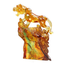 "Golden Lotus - Chinese Crystal Glass Liuli Pate-de-verre Tiger Figure - Dimensions:   W5"" x D 2-3/8"" x H 6-1/4"" (approx.)"