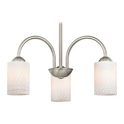 Design Classics Lighting - Chandelier with White Art Glass in Satin Nickel Finish - 592-09 GL1020C - Transitional satin nickel 3-light chandelier with white scallop cylinder art glass shades. Takes (3) 100-watt incandescent A19 bulb(s). Bulb(s) sold separately. UL listed. Dry location rated.