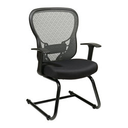 Office Star - Office Star 529 Series Deluxe SpaceGrid Back Visitors Chair in Black - Office Star - Office Chairs - 5293R2V30 - Deluxe R2 SpaceGrid Back Visitors Chair With Fixed T Arms And Molded Foam Leather Seat Nylon Metal Sled Base. Perfect for waiting areas or reception rooms.