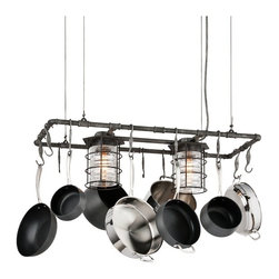 "Troy - Industrial Brunswick 44"" Wide Aged Pewter Pot Rack Chandelier - Hang your cookware in style with this industrial inspired island chandelier. Two lights with historic pressed clear glass hang amongst hooks meant for pots and pans while a hand-forged iron frame finished in aged pewter adds a vintage touch. From the Brunswick Collection by Troy Lighting. Industrial pot rack chandelier. Aged pewter finish. Historic pressed clear glass. Hand-forged iron construction. Two maximum 100 watt or equivalent bulbs (not included). Includes 10 feet of adjustable aircraft cable. 44"" wide. 11 1/2"" high. 18"" deep. 17"" to 125"" adjustable height.  Industrial pot rack chandelier.  Aged pewter finish.  Historic pressed clear glass.  Hand-forged iron construction.  Two maximum 100 watt or equivalent bulbs (not included).  Includes 10 feet of adjustable aircraft cable.  44"" wide.  11 1/2"" high.  18"" deep.  17"" to 125"" adjustable height."