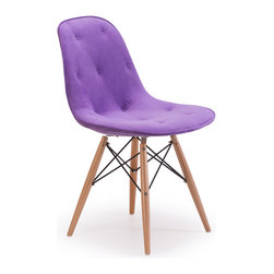 ZUO MODERN - Probability Chair Purple Velour - A hip take on a modern classic, the Probablity Chair has soft tufted with buttons velour seat and a wire steel frame with solid wood legs