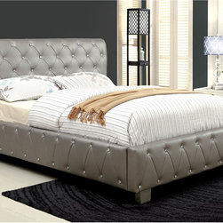 Furniture of America - Furniture of America Emmaline Silver Leatherette Platform Bed with Bluetooth Spe - Emphasize your daughter's love for music with this elegant and charming platform bed! Featuring Bluetooth speakers to play her favorite jams,this bed will be one of her favorite accessories!