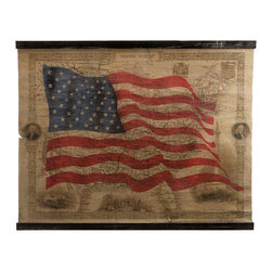 iMax - United States Of America Wall Decor - Three cheers for the red, white and blue, rendered in fabric and fir wood for a historic take on wall decor with a patriotic theme.