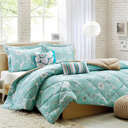Intelligent Design - Intelligent Design Molly Comforter Set - Update your space with the Molly Comforter Set. Printed on polyester softspun, this comforter features an updated aqua floral print with a solid khaki reverse. Two decorative pillows feature embroidery and piecing details in pop colors to make this an eye-catching additional to your room. Comforter/Sham: 100% polyester softspun printed fabric , softspun solid reverse, hidden zipper closure on sham, 8oz down alternative fill, box quilting Square Pillow: 100% plyester softspun fabric cover with embroidery patchwork on face side, solid reverse, polyfill Oblong Pillow: 100% polyester softspun fabric cover, embroidery and taping on face, solid fabric reverse, poly fill