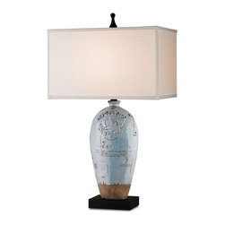 Currey & Company - Amandine Table Lamp - A classic silhouette with romantic French script detailing, the Amandine table lamp with it's Light Blue Crackle finish and striking London Black base, is balanced and beguiling. It is made from fine Terracotta, and topped with a crisp Bone Linen shade.