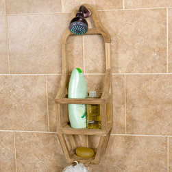 Teak Shower Caddy - The innovative design of this shower caddy makes it both a sleek accent and functional addition to your shower. Comprised of teak wood, this caddy is naturally unsealed, but can be easily finished if desired.