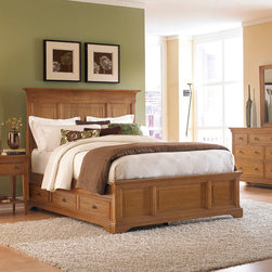 """American Drew - American Drew Ashby Park 4 Piece Storage Bedroom Set w/ Leg Nightstand - The Ashby Park Collection is a casual, lifestyle collection with multiple options that will help you create the perfect bedroom. The design of the collection is simple, yet full of look. An eclectic mix of colors and materials gives this group the ability to fit into many settings; create a metro, casual, transitional, traditional or even coastal appearance by changing or mixing up the colors and textures. There are five finish options. The three wood tone finishes are Natural, Nutmeg and Peppercorn and the stained colors are Sage and Sea Salt. The semi-transparent finish is accomplished by applying the various colored stains onto the strong grain characteristics of Ash. This allows the wood undertones to naturally add depth and highlights to each piece. The wood tone finishes use a Dark Copper Finished knob. The stained colors use a Nickel Finished knob. The hardware adds to the simple styling of the pieces. With multiple bed and case piece options, finish and hardware options, Ashby Park is sure to fit the style and needs of many homes. - 901-355-57-NPSW-401-4-SET.  Product features: Belongs to Ashby Park Collection by American Drew; Storage Panel Bed; Queen Panel Bed: 69""""W x 81""""D x 60""""H; King Panel Bed: 85""""W x 81""""D x 60""""H; Underbed Storage: 3 Drawers; Mattress and linens not included; Ash solids and ash veneers; Simulated wood components and wood products; Transitional Style; Nutmeg or Peppercorn finish comes with dark copper color hardware and Sage and Sea Salt finishes come with nickel color hardware; Available in Queen or King sizes. Product includes: Storage Panel Bed (1); Leg Nightstand (1); Dresser (1); Rectangular Mirror (1). 4 Piece Storage Bedroom Set w/ Leg Nightstand belongs to Ashby Park Collection by American Drew."""