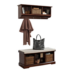 Crosley - Brennan 2-Piece Entryway Bench and Shelf Set, Mahogany - Organize your entryway with a sophisticated bench set that's built to last. This cubby bench has several slots for storing shoes and other small items, and also makes for a comfortable seat. Included baskets allow for storage of scarves, gloves, and hats while adding a beautiful touch to your entryway. The matching wall unit features open shelves for storing hats and the like. Four hooks are perfect for hanging a family of coats and jackets.