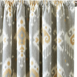 "Eastern Accents - Downey Curtain Panel Set - The Downey curtain panel set introduces an on-trend ikat prints to the contemporary living room or bedroom. Versatile and modern, these window coverings feature a soft natural cotton construction in slate gray, gold and white. The high-quality drapes feature weighted corners, double hems and medium-weight cotton lining to maintain shape and fullness. Available in four sizes. Sold as a set of two with 100% cotton flannel interlining. Optional blackout lining with 95% light exclusion available for an extra charge. Professional cleaning recommended. Email shop@laylagrayce.com for custom ordering. 48""W x 84""H; 48""W x 96""H; 48""W x 108""H; 48""W x 120""H; Rod pocket fits up to 1.5"" Diameter poles; Custom rod pocket widths available by request; Email shop@laylagrayce.com for custom ordering."