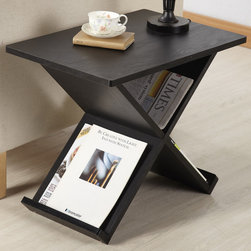 Furniture of America - Furniture of America Modern Midnight X-shape Magazine Rack End Table - This modern end table features an X shape for fun storage. With fun, contemporary lines, this classy black table is a great way to de-clutter your life.
