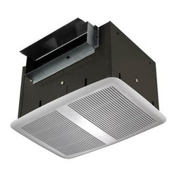 Broan-Nutone QT300 High Capacity Ventilation Fan - Freshen stale air in the bathroom, rec room, conference room, or office space with the NuTone QT200 High Capacity Ventilation Fan, low-noise, discreet ceiling system crafted with galvanized steel and a slim, gracefully curved white polymeric grille. This easy-to-install fan, which projects just a scant .62 inches from the ceiling, includes pre-wired outlet boxes and a plug-in receptacle. Tordion springs hold the unit firmly in place, and adjustable hanger brackets let you mount it between 16 inches on center joists. A duct collar with a built-in backdraft damper, sound-deadening foam lining inside the housing, a dynamically balanced low-RPM motor and twin blowers, and a 2 sone sound level ensure the 200 CFM ventilation is super-quiet.DimensionsHousing: 14.25L x 10W x 9H inchesGrille: 16.5L x 12.09W x .62H inchesAdditional FeaturesIncludes pre-wired outlet boxes and plug-in receptacleTordion springs stabilize unitAdjustable hanger brackets mount between 16 inches on center joistsDuct collar with backdraft damperHousing lined with sound-deadening foamLow RPM motorAbout Broan-NuToneBroan-NuTone has been leading the industry since 1932 in producing innovative ventilation products and built-in convenience products, all backed by superior customer service. Today, they're headquartered in Hartford, Wisconsin, employing more than 3200 people in eight countries. They've become North America's largest producer of medicine cabinets, ironing centers, door chimes, and they're the industry leader for range hoods, bath and ventilation fans, and heater/fan/light combination units. They are proud that more than 80 percent of their products sold in the United States are designed and manufactured in the U.S., with U.S. and imported parts. Broan-NuTone is dedicated to providing revolutionary products to improve the indoor environment of your home, in ways that also help preserve the outdoor environment.
