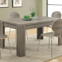 Monarch - Dark Taupe Reclaimed-Look 36in. x 60in. Dining Table - This transitional solid wood and veneer dining table is beautifully designed with a reclaimed dark taupe finish. The 36 in. x 60 in. space allows for great entertaining and dining small or large parties. Featuring sturdy open block legs, this bold rectangular piece will make a statement in any home.