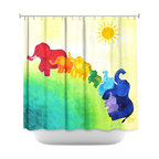 DiaNoche Designs - Shower Curtain Unique from DiaNoche Designs by nJoyArt - Elephant Rainbow - DiaNoche Designs works with artists from around the world to bring unique, artistic products to decorate all aspects of your home.  Our designer Shower Curtains will be the talk of every guest to visit your bathroom!  Our Shower Curtains have Sewn reinforced holes for curtain rings, Shower Curtain Rings Not Included.  Dye Sublimation printing adheres the ink to the material for long life and durability. Machine Wash upon arrival for maximum softness on cold and dry low.  Printed in USA.