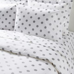 Garnet Hill - Garnet Hill Dot to Dot Cotton Percale Sheets - Crib - Fitted - Metallic Silver - Playful polka dots in both bright and pastel colors on soft 200 thread count long-staple combed-cotton percale bedding. The universal fitted sheet is elasticized all the way around for a better fit. Also in twin extra-long.