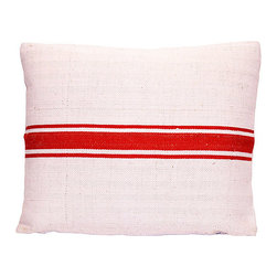 Feed Sack Pillow - Re-purposing has never been so simply stylish. This pillow is fashioned from a European feed sack, with a natural cotton twill back and overlocked seams — the perfect addition to your casual sophisticate decor.