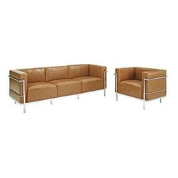 "LexMod - Charles Grande Leather Sofa and Armchair Set Of 2 in Tan - Charles Grande Leather Sofa and Armchair Set Of 2 in Tan - Urban life has always a quandary for designers. While the torrent of external stimuli surrounds, the designer is vested with the task of introducing calm to the scene. From out of the surging wave of progress, the most talented can fashion a forcefield of tranquility. Perhaps the most telling aspect of the LC3 series is how it painted the future world of progress. The coming technological era, like the externalized tubular steel frame, was intended to support and assist human endeavor. While the aesthetic rationalism of the padded leather seats foretold a period that would try to make sense of this growth. The result is an iconic sofa series that became the first to develop a new plan for modern living. If previous generations were interested in leaving the countryside for the cities, today it is very much the opposite. If given the choice, the younger generations would rather live freely while firmly seated in the clamorous heart of urbanism. The LC3 series is the preferred choice for reception areas, living rooms, hotels, resorts, restaurants and other lounge spaces. Set Includes: One - Charles Grande Leather Armchair One - Charles Grande Leather Sofa Mid-Century Modern Sofa Set, Genuine Leather Seating Surface, Tubular Stainless Steel Frame, Foot caps to prevent scratching Overall Product Dimensions: 51""L x 108.5""W x 27.5""H Sofa Dimensions: 26""L x 82.5""W x 27.5""H Armchair Dimensions: 26""L x 35""W x 27.5""H Seat Dimensions: 20.5""L x 16.5""H Armrest Height: 27.5""HBACKrest Height: 11.5""H - Mid Century Modern Furniture."