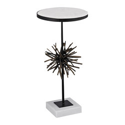 Sterling Lighting - Sterling Lighting Pom Martini Table, Large - This Sophisticated And Chic Pom Martini Table Features A White Marble Top And Base. The Centre Piece Is Reminiscent Of 1950'S Popular Sculpture And Is Formed From Cast Iron In A Bronze Finish With Highlighting.