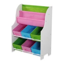 Hds Trading Corporation - HDS Trading Large Book Holder & Storage Shelf - This kid's book holder and storage shelf is a unique way to store books, toys and other belongings. It has a white fiberboard construction with multi-colored canvas bins and book holders.