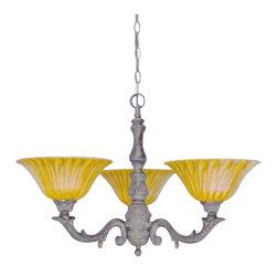 Toltec - Toltec 83-BRZ-519 Bronze Finish 3-Light Uplight Chandelier with 10' Tiger Glass - Toltec 83-BRZ-519 Bronze Finish 3-Light Uplight Chandelier with 10' Tiger Glass