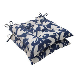 Pillow Perfect - Pillow Perfect Bosco Polyester Navy Tufted Outdoor Seat Cushions (Set of 2) - This set of outdoor seat cushions from Pillow Perfect is constructed out of durable, weather resistant polyester and features a soft polyester fiber fill. These cushions also highlight a charming blue and white color palette, and a sewn seam closure.