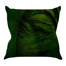"Kess InHouse - Robin Dickinson ""Feather Green"" Peacock Throw Pillow (16"" x 16"") - Rest among the art you love. Transform your hang out room into a hip gallery, that's also comfortable. With this pillow you can create an environment that reflects your unique style. It's amazing what a throw pillow can do to complete a room. (Kess InHouse is not responsible for pillow fighting that may occur as the result of creative stimulation)."