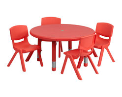 Flash Furniture - Flash Furniture 33 Inch Round Adjustable Red Plastic Activity Table Set - This table set is excellent for early childhood development. Primary colors make learning and play time exciting when several colors are arranged in the classroom. The durable table features a plastic top  with steel welding underneath along with Height adjustable legs. The chair has been properly designed to fit young children to develop proper sitting habits that will last a lifetime. [YU-YCX-0073-2-ROUND-TBL-RED-E-GG]