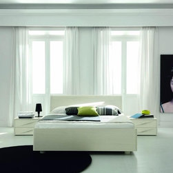 Made in Italy Wood Modern Master Bedroom Set with Extra Storage - White wooden Italian bedroom set with lights in the headboard. Made in Italy, the Genesis collection of beds and storage puts together the luxuriousness and stylishness in your bedroom.