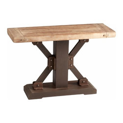 Natural Wood and Iron Industrial Look Console Table - *Kern Table