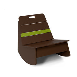 Loll Designs - Loll Designs Chocolate Brown Racer Rocker Chair - This low rocking chair has a funky modern style and chocolate brown color with a bright green stripe that makes it stand out in a room or on a deck. A handle on the backrest of the side chair makes it easy to move around with the arrangement of your outdoor space, and its casual structure brings cheerful simplicity to a patio or deck. Bright, bold, youthful - this rocker is a fun piece to accent your contemporary decor.  As a member of the 1% for the planet organization, Loll Design donates 1% of its gross sales to a worldwide network of environmental organizations. Crafted from recycled plasticDurable and weather-resistant for outdoor useEasy assemblyMade in the USAShips in 6 weeks
