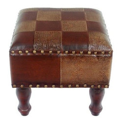 Seville 16 in. Square Faux Leather Stool - Mixed Checker Pattern - Add versatility and a touch of exotic style to your room with the Seville 16-Inch Square Faux Leather Stool in Mixed Checker Pattern. This stool has a transitional style and a versatile design that is sure to get used. It stands 14 inches tall, making it just the right height for a variety of uses and it has a brown on brown faux leather checkerboard pattern and nail head trim that stands out. Four curvaceous wood legs support it's thick, cushioned top. You're going to love this stool!