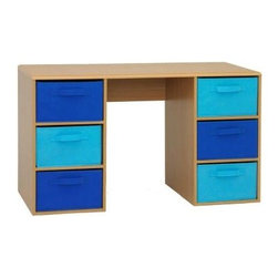 "Boy's Student Desk - What a perfect student desk for a boys room!  The desk surface is a vacuum formed surface  with gently rolled edges.  This durable pvc laminate makes this item a great choice for any child's room.  The navy and light blue large folding canvas drawers (Drawer 13.25 ""w x 18.75""d x 8""w) give plenty of storage to meet your needs. The drawers rest gently on the shelf and have canvas handles on both sides of the drawer for pulling out of the unit, or pulling completely out and taking with you to another room in the house. Constructed of Composite Board and highly durable PVC laminate.  Clean with a dry non abrasive cloth.   Assembly required."