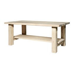 Montana Woodworks - Coffee Table with Shelf - Hand crafted. Sawn square timbers and trim pieces for rustic timber frame design. Heirloom quality. Edge glued panels. Made from U.S. solid grown wood. Lacquered finish. Made in U.S.A.. Assembly required. 48 in. W x 24 in. D x 18 in. H (36 lbs.). Warranty. Use and Care InstructionsFrom Montana Woodworks, the largest manufacturer of handcrafted quality log furnishings in America comes the all new Homestead Collection line of furniture products. This delightful coffee or accent table with shelf underneath adds just the right amount of rustic styling to your living room or other indoor area. Each piece signed by the artisan who makes it.