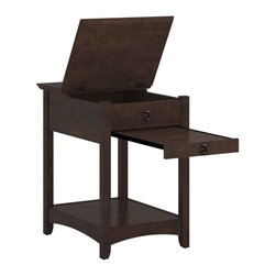 Bush Furniture - Bush Furniture Laptop End Table X-30-57831YM - Casual style, comfort and convenience come standard with the Buena Vista Laptop End Table by Bush Furniture.  The forward 3/4 section of table top is hinged for access to storage/charging space for portable electronic devices while the back section of table top remains stationary so there's no need to move items such as lamps, frames, or displays when opening storage compartment. Hidden wire management grommet conceals cables and cords while providing easy access to power outlets.  A pull out shelf provides additional table space and working area - a perfect spot to rest a laptop, ipad or other portable devices. The sturdy bottom shelf has just the right amount of space for magazines, books, and even a small printer. Reduce clutter, stay organized and add a comfortable style to your living room.  Attractive post leg design blends beautifully with most contemporary or traditional decor. Matches other pieces in the Buena Vista collection including the Buena Vista TV Stand (MY13846-03), Coffee Table (MY13807-03) and Desk (MY13823-03). Durable, solid top surfaces resist nicks, scratches, stains and watermarks. Backed by the Bush Furniture 1-year Manufacturer's Warranty.
