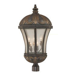Savoy House - Ponce de Leon Post Lantern - Let this lantern be your beacon, to light your way home on stormy or clear nights. With weathered bronze and gold touches, this lamp has that classic look that has stood the test of time, and will illumine your path with grace and elegance.