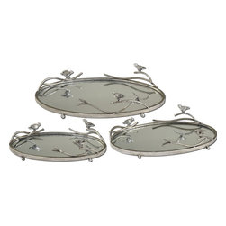 "Uttermost - Uttermost Birds On A Limb Mirrored Trays, Set of 3 19710 - Antiqued, Silver Champagne Metal Frames And Details With Plain Mirrors For The Tray Bases. Small size: 15""W x 4""H x 9""D, Medium size: 18""W x 4""H x 11""D, Large size: 21""W x 5""H x 13""D."