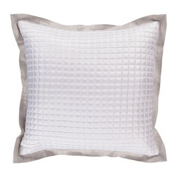 "Surya - Sleek Metallic Square Pillow AR-010 - 18"" x 18"" - This pillow's sleek metalic design add a touch of class to your room. Colors of feather gray and white accent this decorative pillow. This pillow contains a poly fill and a zipper closure. Add this pillow to your collection today."